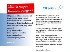 Dill and caper salmon burgers recipe
